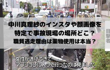 中川真理紗のインスタや顔画像を特定で事故現場の場所どこ?職質逃走理由は薬物使用は本当?